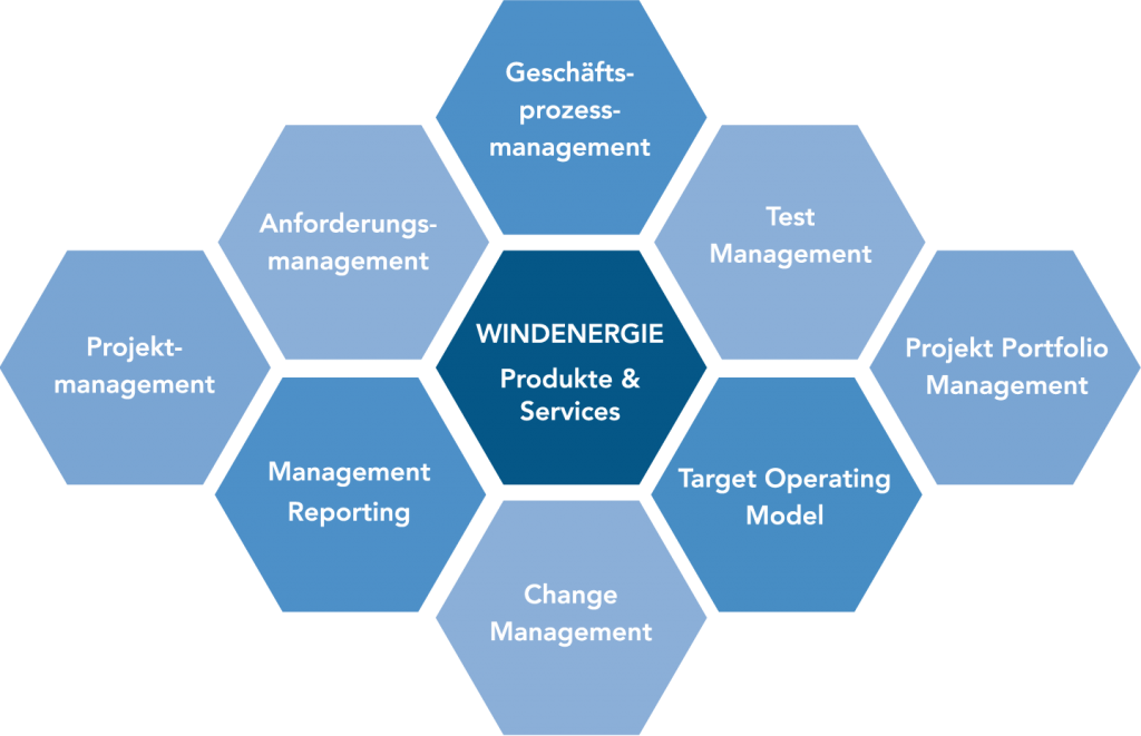 Produkte & Services der Branche Windenergie: Projektmanagement, Anforderungsmanagement, Geschäftsprozessmanagement, Testmanagement, Target Operating Model, Change Management, Projekt Portfolio Management, Management Reporting