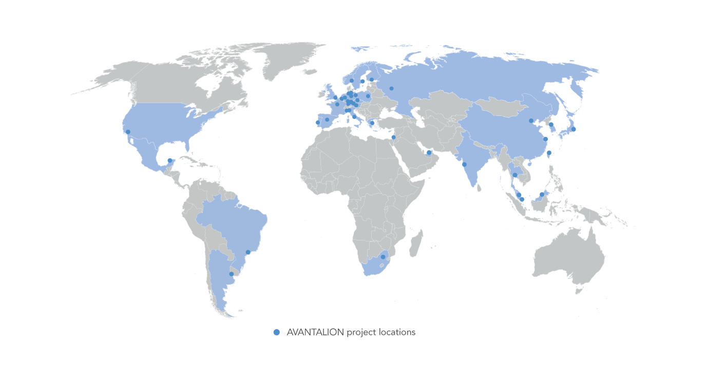 This map shows all the places across the world, where AVANTALION successfully implemented projects.